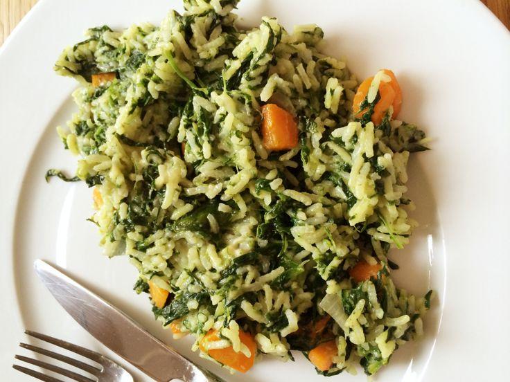 Riz frit aux épinards et carottes