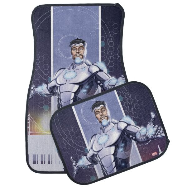 Superior Iron Man And City Car Mat -  Check out Superior Iron Man standing with arms wide open in front of a three-panel featuring colored city skylines. ... #custom #beach themed #gift #carmat design by #MarvelNow - #carmat #superiorironman #tonystark #cityskyline #threepanel #superhero #comicbook #marvelcomics