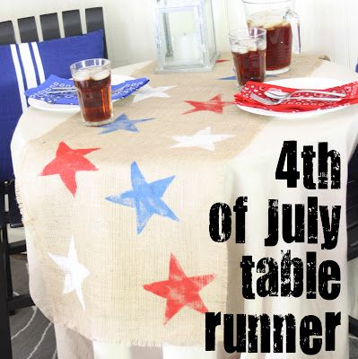 4th of july table runner - stars stamped on burlap