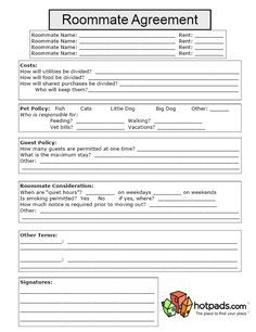Roommate Rental Agreement Template | Best Car Gallery - roommate agreement template free