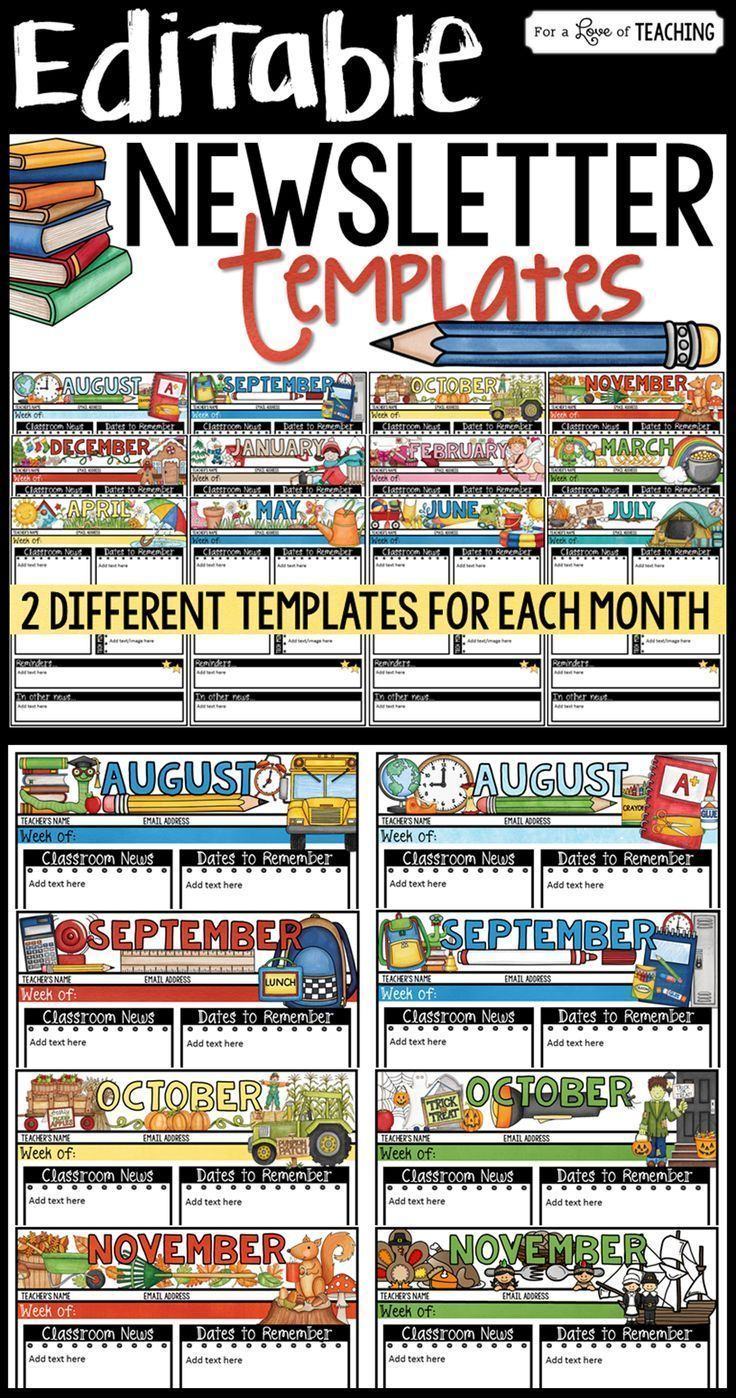 These monthly editable newsletter templates are perfect to use year round. Keep your parents up-to-date with what's going on in your classroom throughout the year.