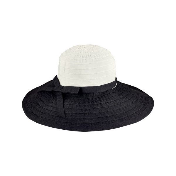 Women's San Diego Hat Company Ribbon Large Brim Hat w/ Bow RBL299 ($33) ❤ liked on Polyvore featuring accessories, hats, adjustable hats, beach hat, wide brim floppy hat, brimmed hat and black and white hat