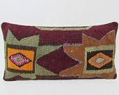12x24 burgundy kilim pillow brown throw pillow green decorative pillow kilim floor cushion aztec pillow cover house decor pillow cover 24617