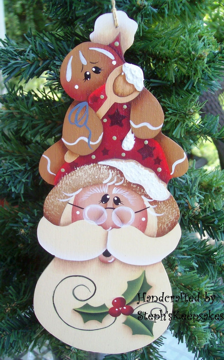 Wooden Hand Painted Santa And Gingerbread by stephskeepsakes