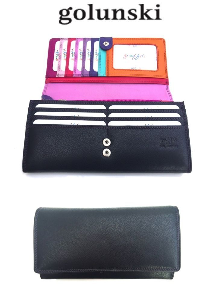 Style 146:  Leather Multi Coloured Purse In 4 colours By Golunski