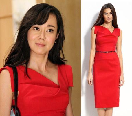"Mistresses episode 5: Karen (Yunjin Kim) wore Black Halo's ""Jackie"" sheath dress in red #getthelook #mistresses"