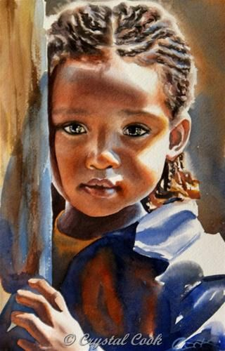"""""""Solemn"""" by Crystal  Cook  so sensitively paintedLittle Girls, African American, Skin Art, Crystals Cooking, Child Portraits, African Children, Black Art, Child Art, Watercolors Painting"""