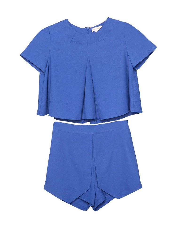 Crop Top and Short Set - Blue Matching Separates - $69