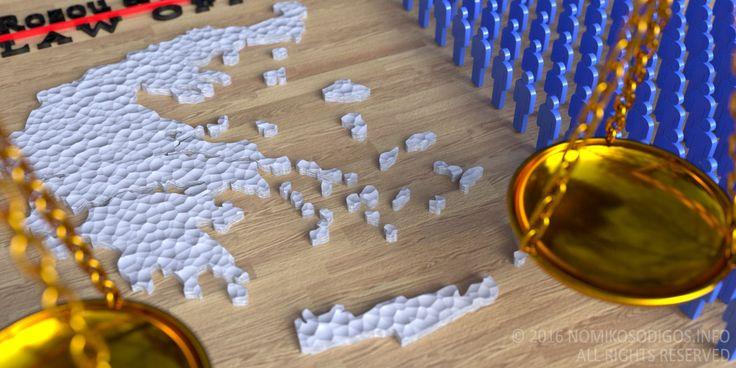 Επάνω σε μία εκρού ξύλινη επιφάνεια υπάρχει ένας άσπρος τρισδιάστατος χάρτης της Ελλάδας. Δίπλα του παρατίθενται στη σειρά αμέτρητες τρισδιάστατες γαλάζιες ανθρώπινες μορφές, που συμβολίζουν το μεγάλο αριθμό των δικηγόρων στην Ελλάδα.