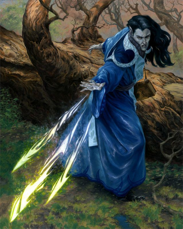 Casting magic missile (from the 5e Dungeons & Dragons Player's Handbook). Art by Randy Gallegos.