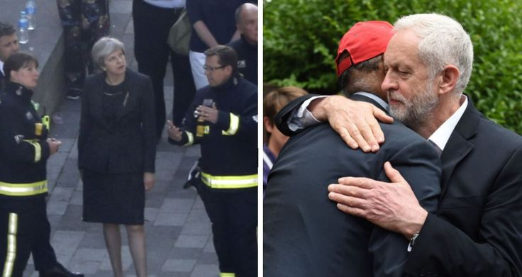 Theresa May and Jeremy Corbyn visit Grenfell Tower. Spot the difference.