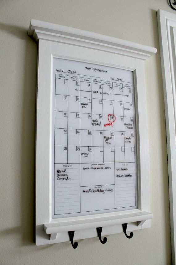 Wall Decor White Perpetual Dry Erase Calendar Family