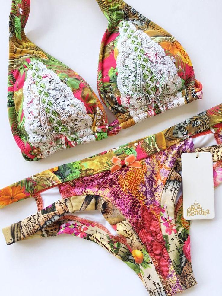 NEW Agua Bendita Swimwear Bendito Nilo Bikini Set Size M Bathing Suit Colombia  | eBay