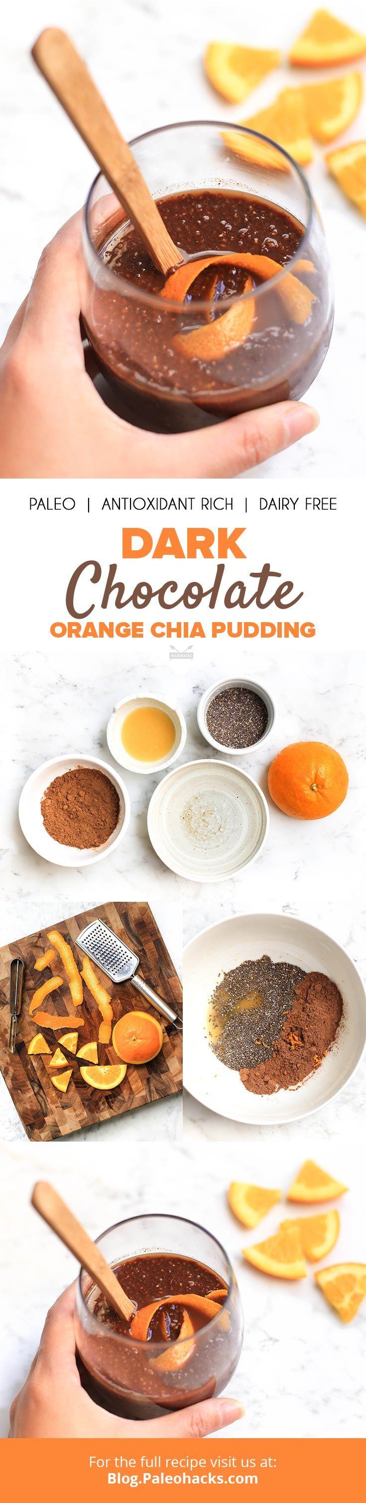 This refreshing dark chocolate orange chia pudding is the perfect way to start your day. Get the recipe here: http://paleo.co/chocorangechiapud