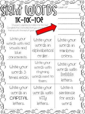 Sight Words & Spelling Tic-Tac-Toe FREEBIE