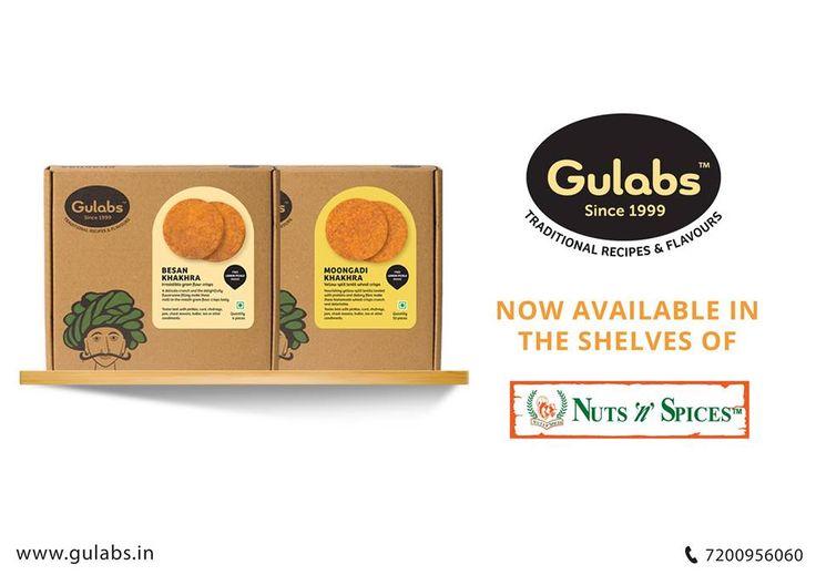 Your favorite - #Gulabs #Khakhras now available at select 'Nuts n Spices' outlets (Nungambakkam, Adyar, Anna Nagar Shanti Colony, T Nagar, Valluvarkottam, Harrington Road, DLF IT park, Besant Nagar, Kilpauk, Velachery)
