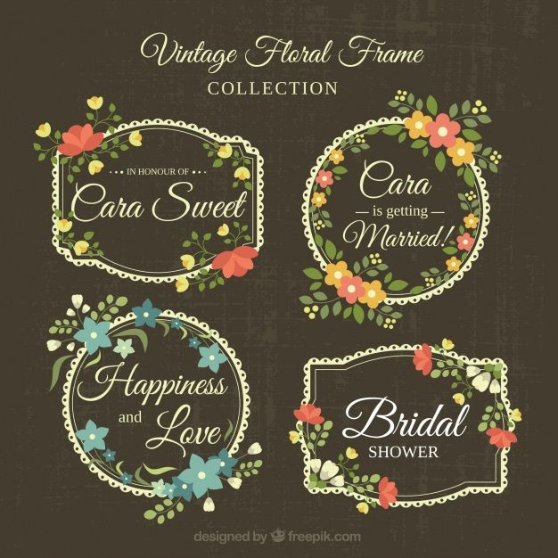 Collection of fantastic floral wedding frames in retro style Free Vector