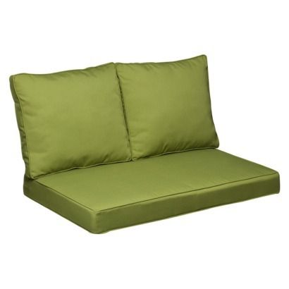 Belmont 3 Piece Brown Wicker Loveseat Replacement Cushion Set Green Outdo