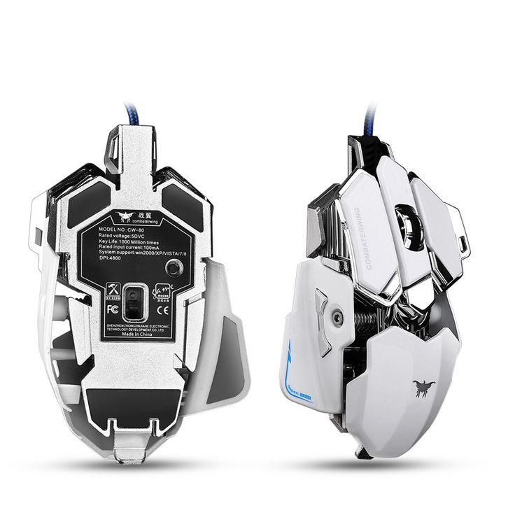 Combaterwing Gaming Mouse 4800 DPI Optical USB Wired Programmable 10 Buttons RGB Breathing LED Mice For Gamer