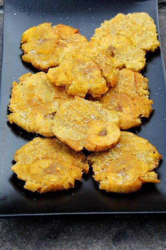 Patacones or tostones - Thick fried green plantains - Latin Recipes