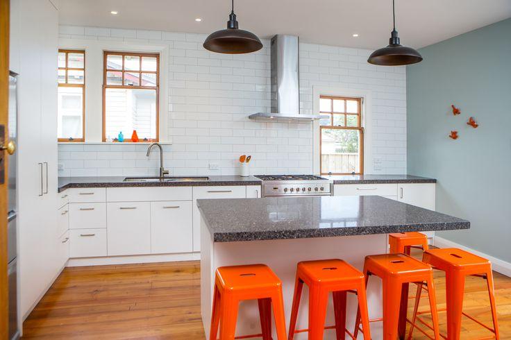 "Kitchen 573 by Sally Steer Design Wellington, New Zealand. Caesarstone ""Wild Rocks"" benchtops."