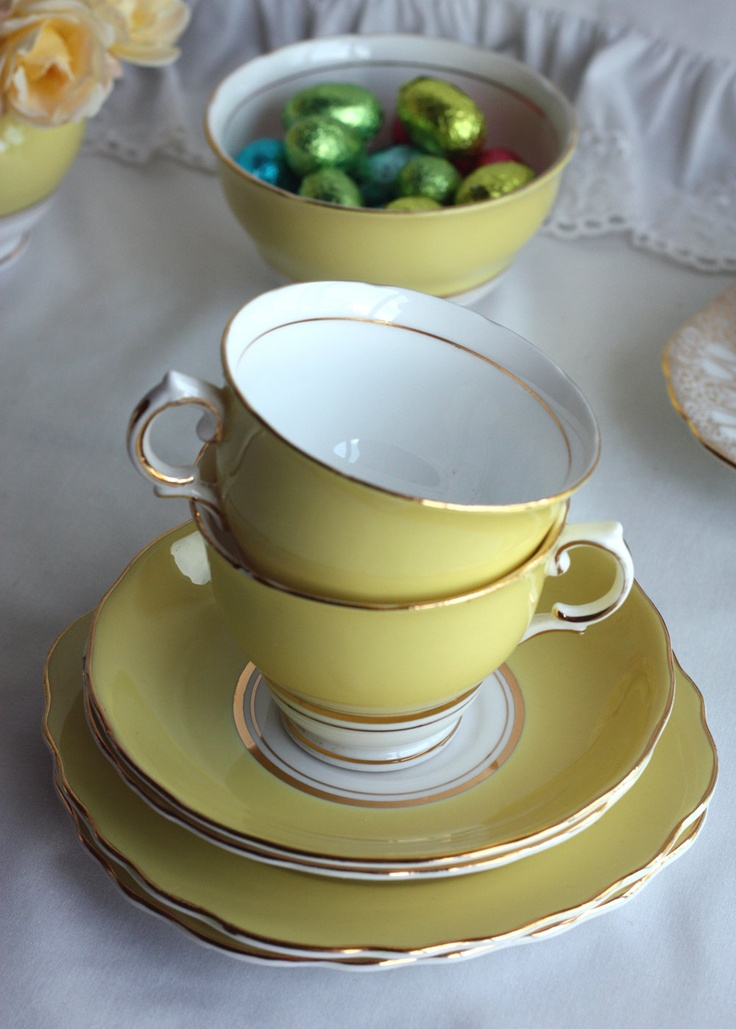 English bone china tea set in vibrant yellow: vintage Colclough cup, saucer, plate perfect for a wedding or summer tea party. $29.00, via Etsy.