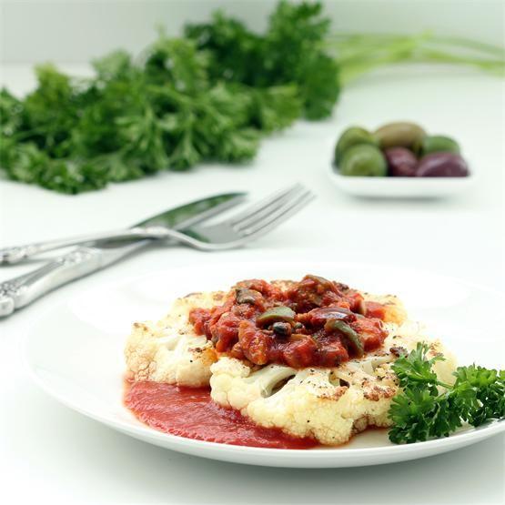 Cauliflower Steaks with Garlic Caper Sauce by @nutritionicity - #KeepOnCooking #Gluten #Free #Entree #Entrée #Side #Vegan #Vegetable #Vegetables #Vegetarian