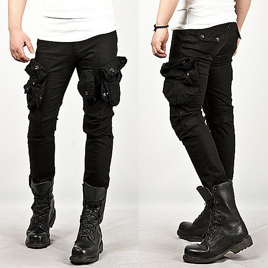 New Mens Fashion Cool Stylish Tough-chic Wax Coated Oil Cargo Skinny Jeans Pants in Clothing, Shoes & Accessories | eBay