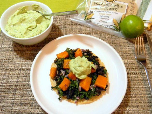 Butternut Squash & Kale Tostadas with Avocado Sour Cream #vegetarian # ...
