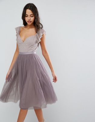NEEDLE & THREAD SWAN TULLE MIDI DRESS WITH FRILL SLEEVE #fashion #trend #style #product #onlineshop #shoptagr