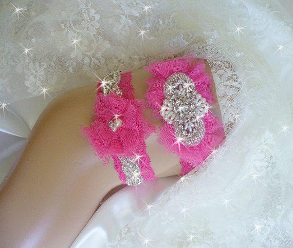 Hot Pink Wedding Garter Keepsake Garter Bling by bridalambrosia, $42.00