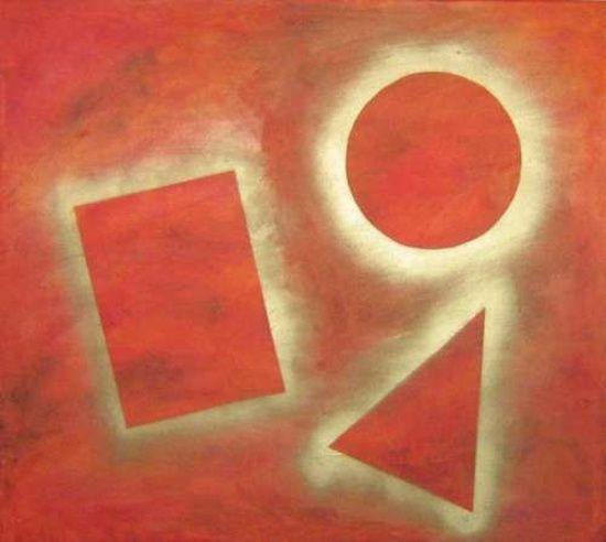 """Pittura geometrica, """"Figure inverse rosso"""" dipinto della serie  - La quarta dimensione -"""