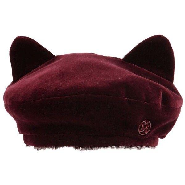 Maison Michel Women Billy Ears Reversible Velvet Beret ($545) ❤ liked on Polyvore featuring accessories, hats, bordeaux, velvet beret, cat ear hat, maison michel hat, beret hat and maison michel