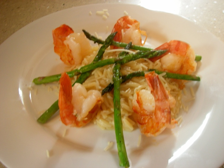 Grilled shrimp in lemon risotto with asparagus. Email me for the ...