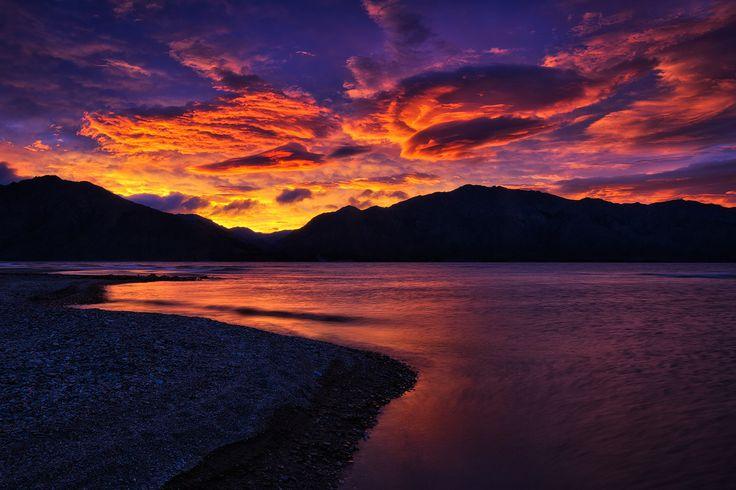 Lake of Fire. - Lake Hawea, New Zealand.  Darren J.