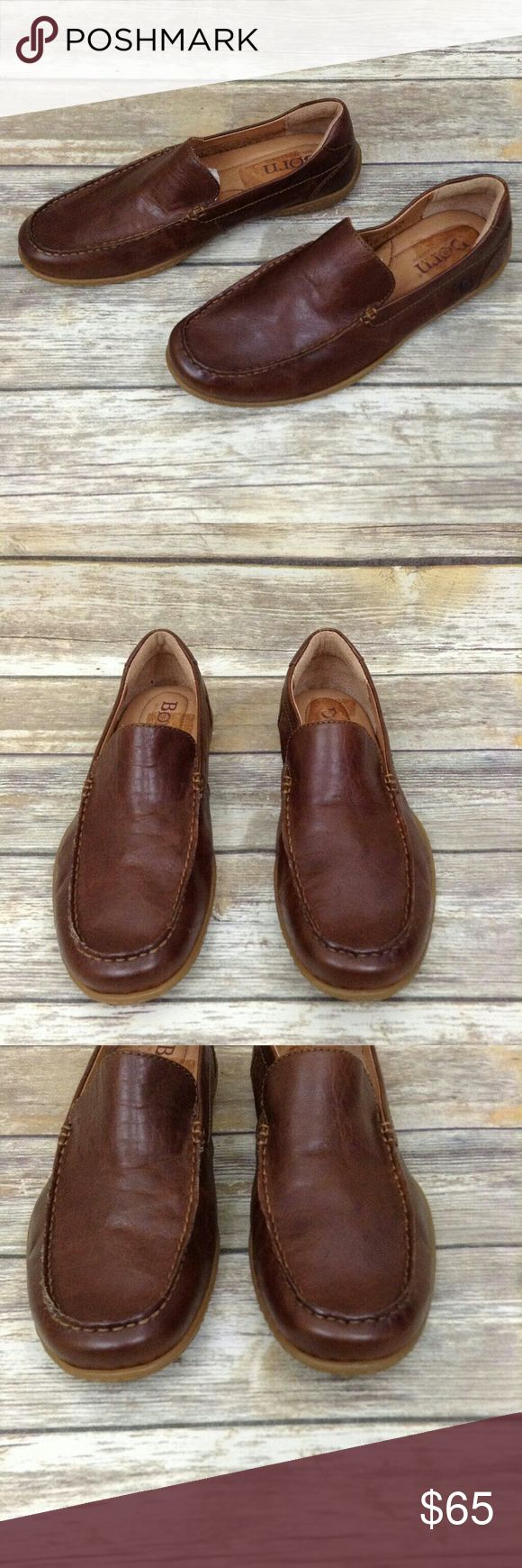 BORN brown leather men's loafer 9.5 Euc. Worn once. Comfort loafer. Inside shows discoloration from price tag see pics. Backup of one shoe has a 2 tiny dings see pic. Leather upper & lining balance man made mterial. Born Shoes Loafers & Slip-Ons