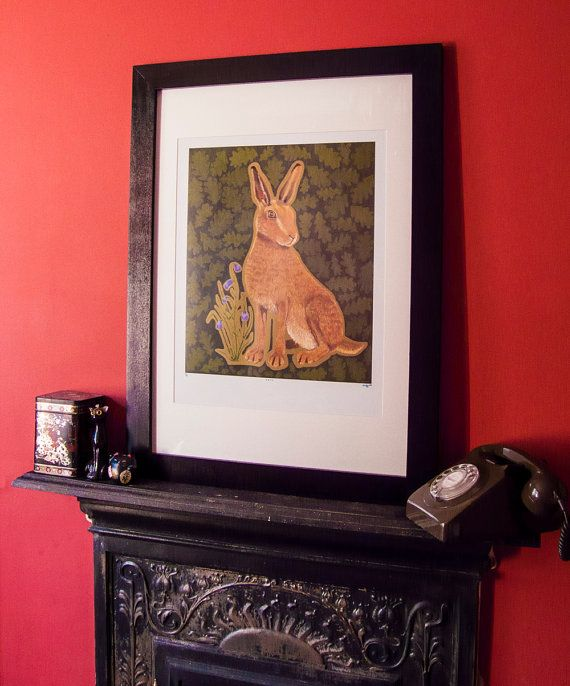 Large hare print  very limited edition signed & by ChargedByFire