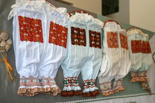 Embroideried female blouses from village Šoporňa, Western Slovakia