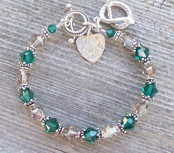 I Heart SNAPE Slytherin House Colors Bracelet with by Saralibbey, $33.00
