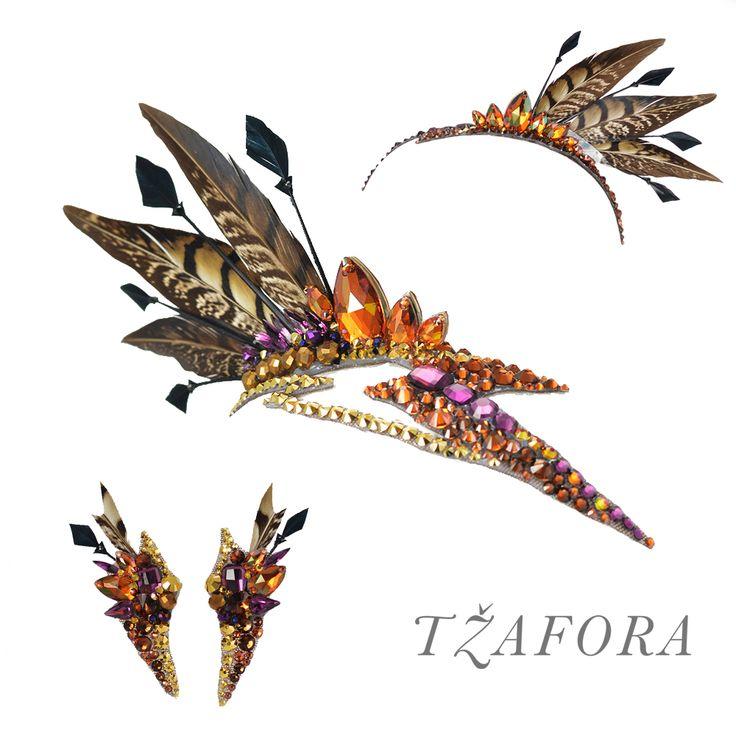 Feather Mohawk set with Swarovski - copyright © 2017 Tzafora. www.tzafora.com