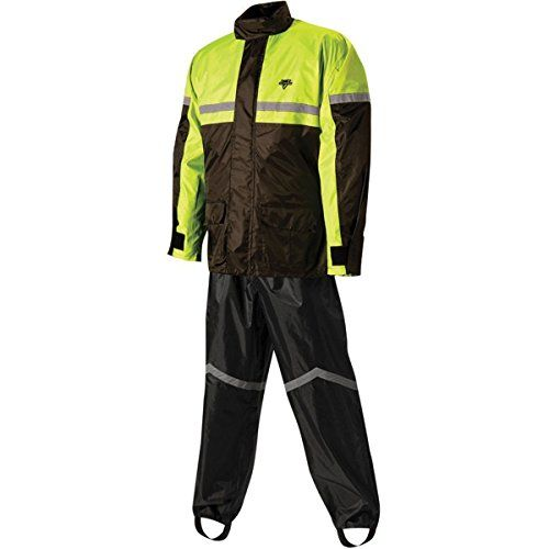 Nelson Rigg SR-6000 Men's 2-Piece Street Bike Racing Motorcycle Rain Suit – Black/High Visibility Yellow / Medium