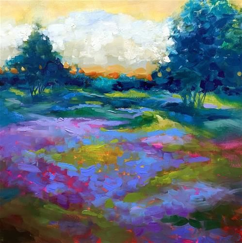 "Daily+Paintworks+-+""Green+Meadow+Lavender+Farm""+-+Original+Fine+Art+for+Sale+-+©+Nancy+Medina"