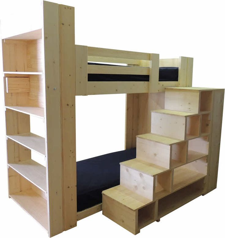 Bunk Beds With Stairs On The Long Side Of The Bed And Wall