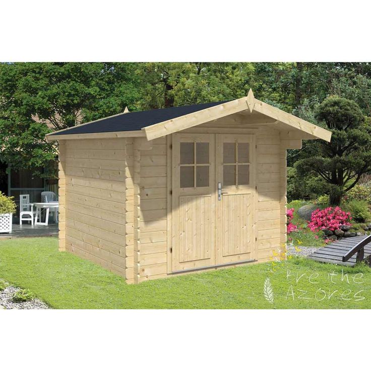 GITTE Log Cabin  The GITTE Log Cabin with a small front canopy measures 2.6m x 2.6m. Constructed using 28mm Spruce logs. It features a double half glazed door.  The Gitte Log cabin is an excellent alternative to a traditional garden shed. It features an apex roof and double half glazed doors and is ideal for storing a plethora of gardening accessories from tools to outdoor toys. This log cabin provides valuable storage space all year round.