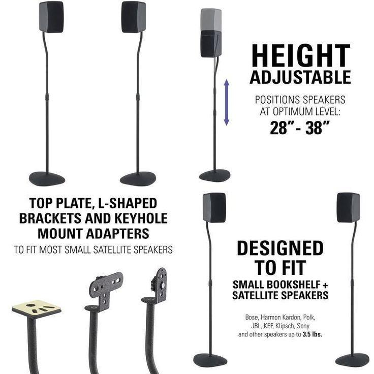 Speaker Stands Universal Adjustable Surround Sound Speakers Black 2 Pieces NEW #Sanus
