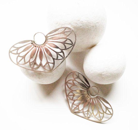 Mandala Earrings  Flowers Earrings  Silver by YolandaTzina on Etsy