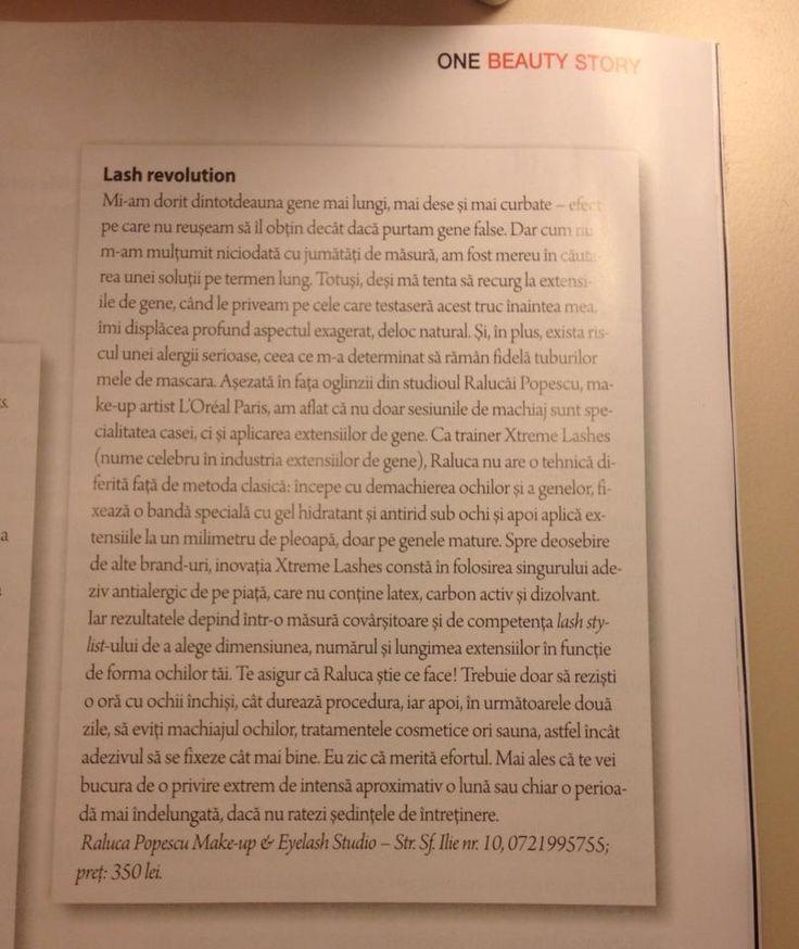 Articol in revista The One - Decembrie 2013