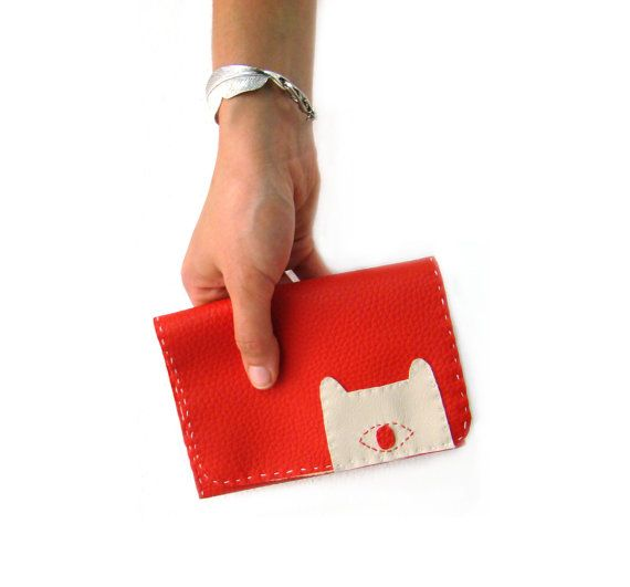 Red Pouch with Embroidered Monster  Made to Order by peutfeutre