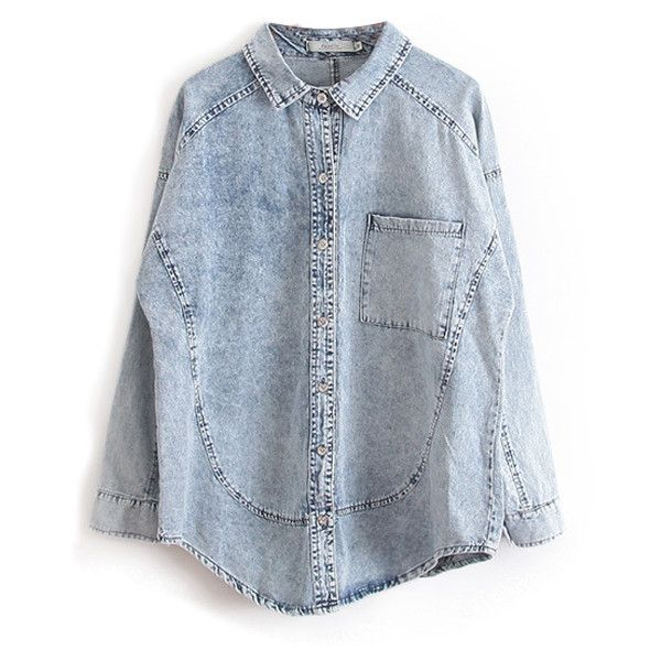 Chicnova Fashion Lapel Collar Batwing Sleeves Denim Blouse ($53) ❤ liked on Polyvore featuring tops, blouses, shirts, chicnova, blue blouse, collared shirt, denim top, cut loose shirt et batwing sleeve shirt