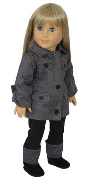 American Girl Doll wearing Grey military Field Jacket and Black Pocket Pants from Silly Monkey Doll Clothes.